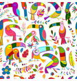 toucans paradise tropical bird seamless pattern vector image vector image