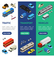 transport car 3d banner vecrtical set isometric vector image vector image