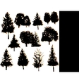 tree silhouettes collection set vector image vector image