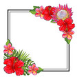 tropical flowers bouquet elements at corners of vector image vector image