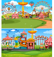 two scenes funpark with many rides vector image vector image