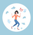 unsatisfied businesswoman throwing paper sheets vector image