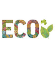 word eco decorative zentangle object vector image vector image