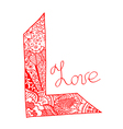 Word love art stylized vector image