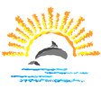 Seascape with a dolphin template logo travel vector image