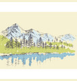 pine forest in the mountains over a lake vector image