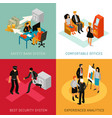 bank people isometric concept vector image vector image
