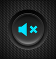 black button with blue mute sign on carbon vector image