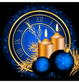 blue and gold christmas background vector image vector image