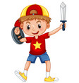 boy playing knight with sword and sheild vector image vector image