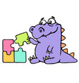cartoon purple croc playing with a puzzles vector image