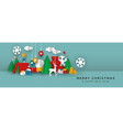 christmas and new year banner papercut toy city vector image vector image