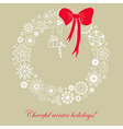 Christmas card with wreath bow gift and candy cane vector image