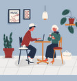 couple working in cafe young man and woman spend vector image