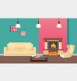 designer room with fireplace and furniture vector image vector image