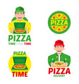 fast pizza delivery set vector image vector image