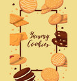 frame with cartoon cookies vector image vector image