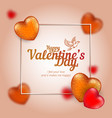 frame with golden and red hearts to happy vector image vector image