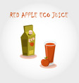 glass bio fresh red apple juice vector image vector image