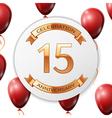 Golden number fifteen years anniversary vector image vector image