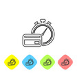 grey fast payments line icon on white background vector image vector image