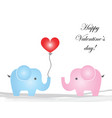 happy valentines day - elephants cartoon in love vector image