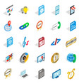 hi-fi system icons set isometric style vector image vector image