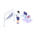 isometric 3d young businesswoman presentation vector image vector image
