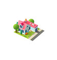 isometric facade home cottage vector image