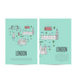 london travel tour booklet set in linear style vector image
