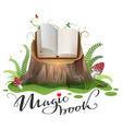 open magic book on stump cartoon vector image vector image