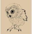 Owl hand drawn black and white vector image vector image