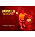Polygonal badminton player sports poster vector image vector image