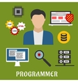 Programmer and devices flat icons vector image