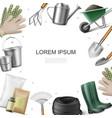 realistic garden equipment template vector image vector image