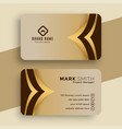 royal golden business card template design vector image vector image