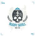 Rugby team skull emblem vector image