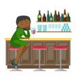 sad african-american woman drinking wine in a bar