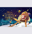 santa in a winter village riding on a sleigh in vector image