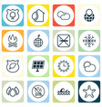 set of 16 eco icons includes cigarette bonfire vector image vector image