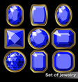 set of blue gems sapphire of various shapes vector image vector image