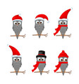 set of christmas owls with various emotions vector image vector image