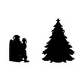 silhouette kid talking and sitting on knees santa vector image vector image