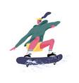 skater riding skateboard skateboarder jumping or vector image