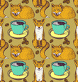 Sketch foxes and coffee vector image vector image