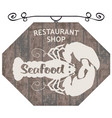 street sign for restaurant or shop with lobster vector image vector image