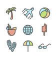 summer vacation colored icons set 02 vector image vector image