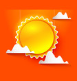 sun and clouds on orange vector image