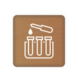 test tube icon on wooden blocks isolated on a vector image