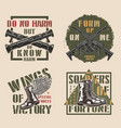 vintage military colorful labels vector image vector image